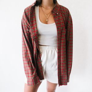 Vintage Oversized Button Up Flannel Red